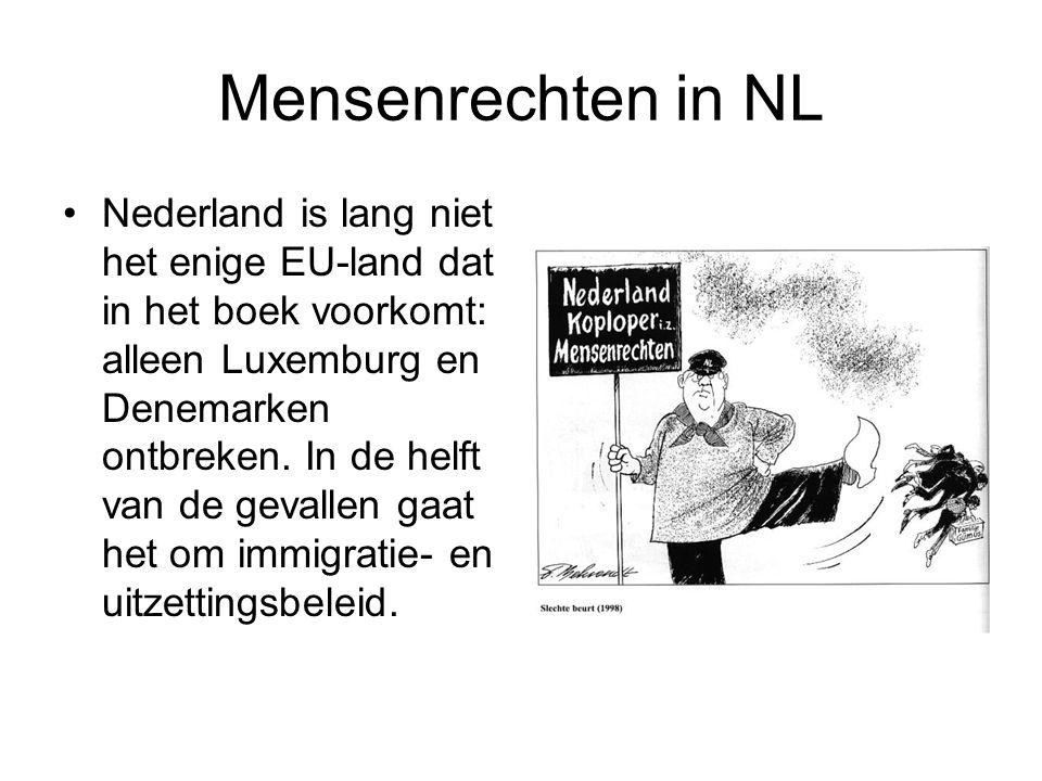 Mensenrechten in NL •Nederland is lang niet het enige EU-land dat in het boek voorkomt: alleen Luxemburg en Denemarken ontbreken.