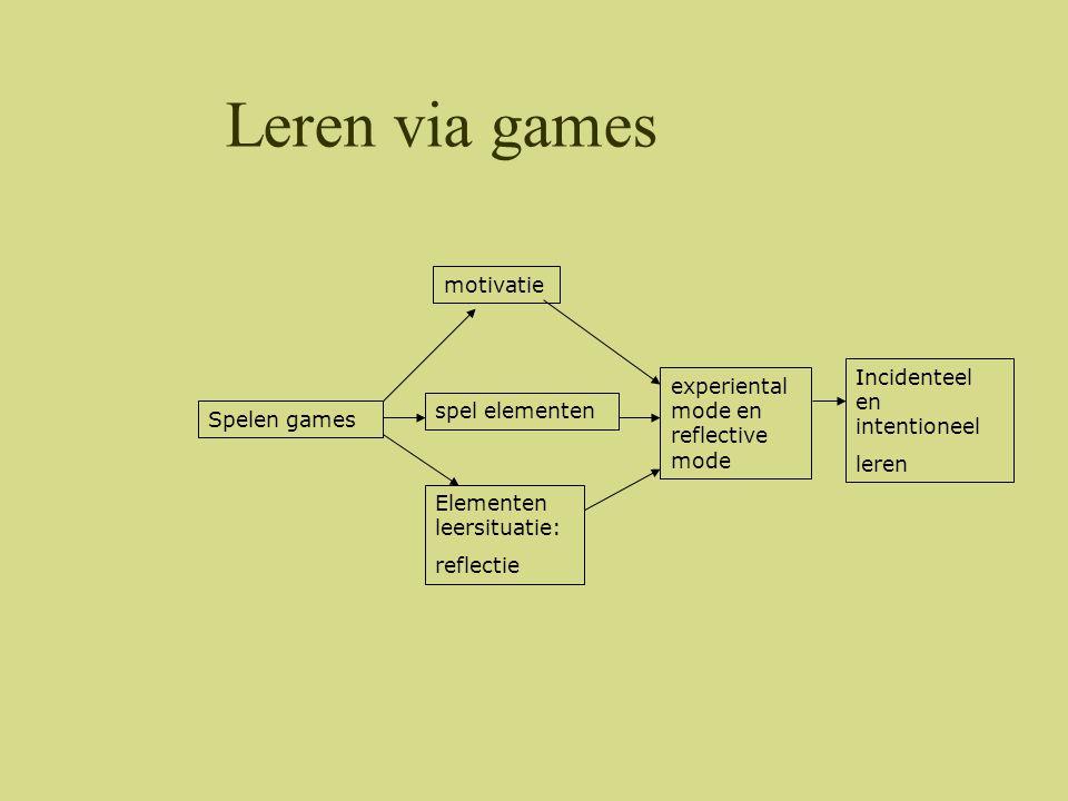 Game elementen •Elementen die zorgen voor de flow factor •Elementen die game didactisch inzetbaar maken
