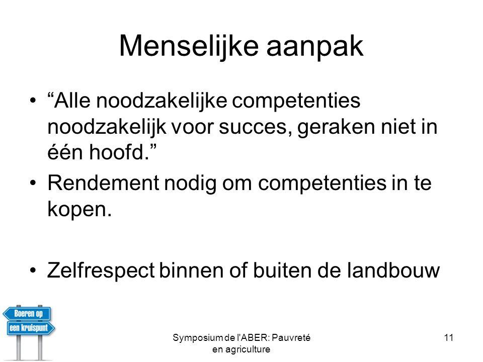 Symposium de l ABER: Pauvreté en agriculture 11 Menselijke aanpak • Alle noodzakelijke competenties noodzakelijk voor succes, geraken niet in één hoofd. •Rendement nodig om competenties in te kopen.