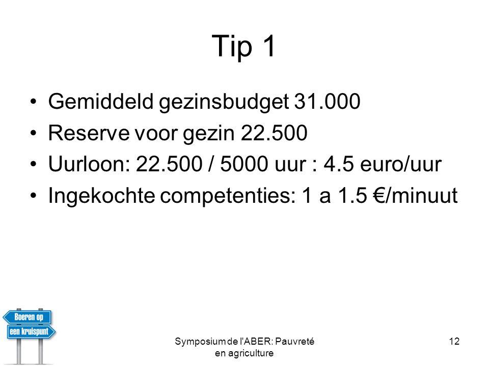 Symposium de l ABER: Pauvreté en agriculture 12 Tip 1 •Gemiddeld gezinsbudget 31.000 •Reserve voor gezin 22.500 •Uurloon: 22.500 / 5000 uur : 4.5 euro/uur •Ingekochte competenties: 1 a 1.5 €/minuut