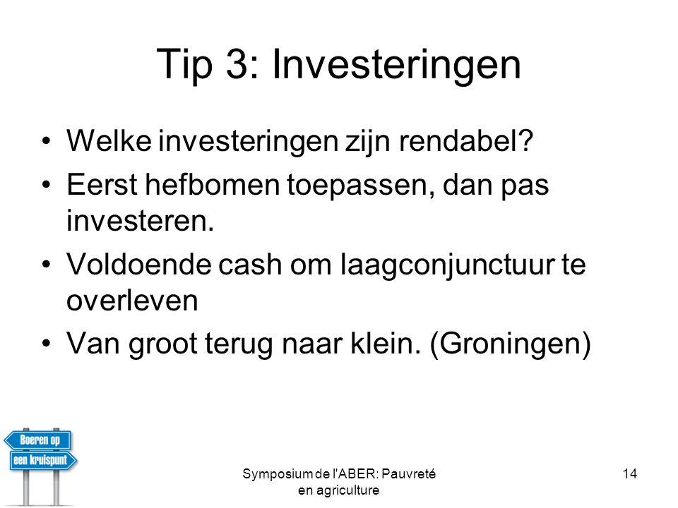 Symposium de l ABER: Pauvreté en agriculture 14 Tip 3: Investeringen •Welke investeringen zijn rendabel.