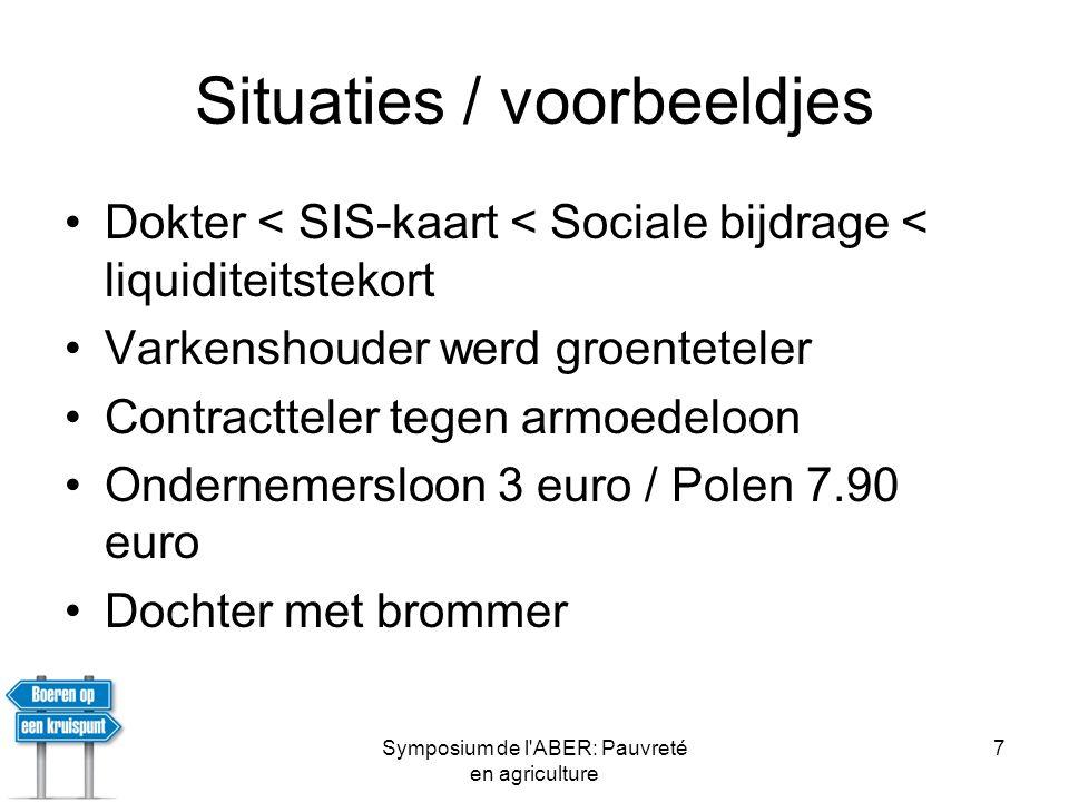 Symposium de l ABER: Pauvreté en agriculture 8 Onvoorzien kosten •Int.