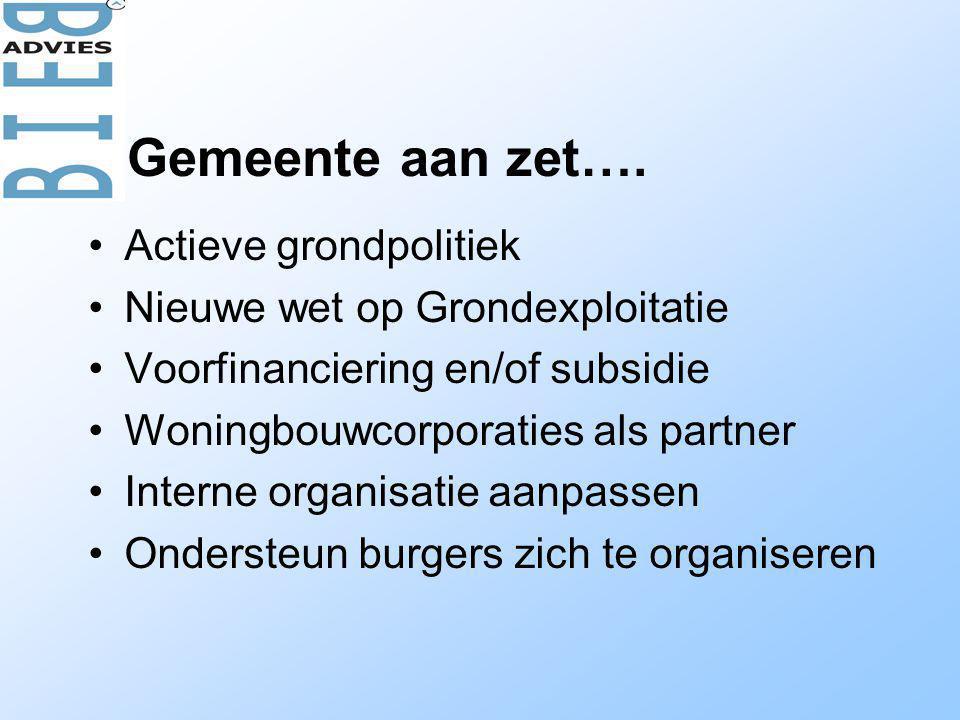 •Actieve grondpolitiek •Nieuwe wet op Grondexploitatie •Voorfinanciering en/of subsidie •Woningbouwcorporaties als partner •Interne organisatie aanpassen •Ondersteun burgers zich te organiseren Gemeente aan zet….