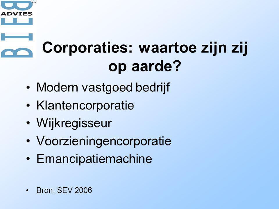 Corporaties: waartoe zijn zij op aarde? •Modern vastgoed bedrijf •Klantencorporatie •Wijkregisseur •Voorzieningencorporatie •Emancipatiemachine •Bron: