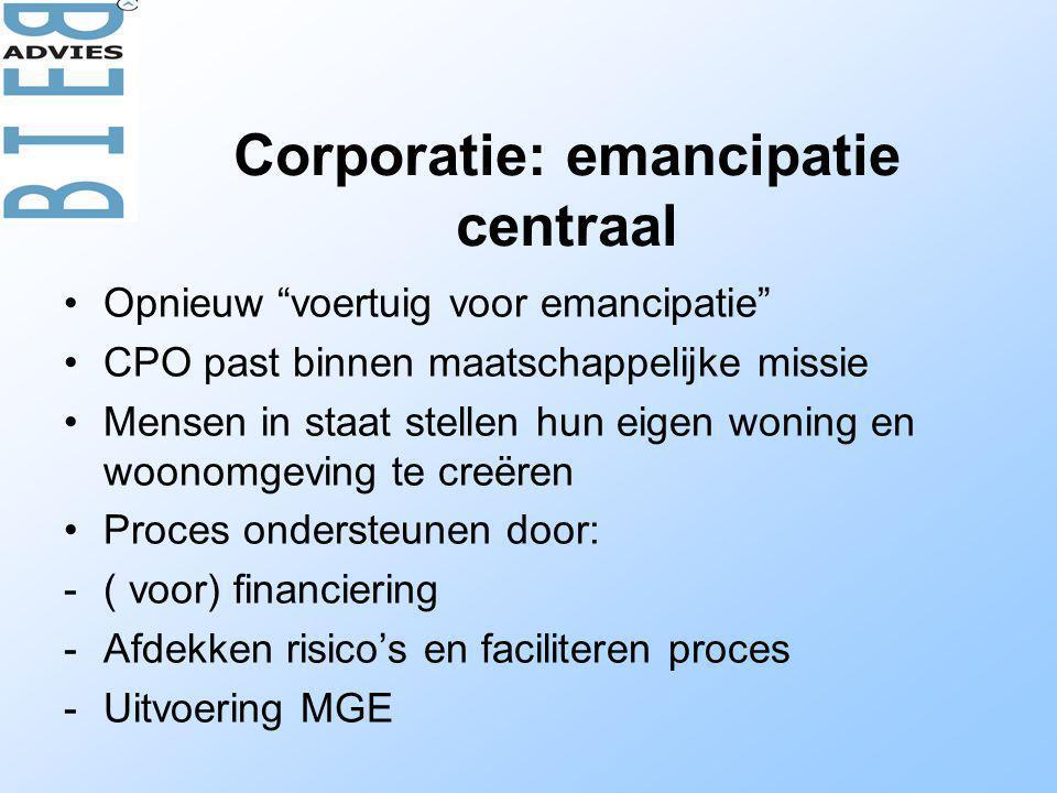 Corporatie: emancipatie centraal •Opnieuw voertuig voor emancipatie •CPO past binnen maatschappelijke missie •Mensen in staat stellen hun eigen woning en woonomgeving te creëren •Proces ondersteunen door: -( voor) financiering -Afdekken risico's en faciliteren proces -Uitvoering MGE