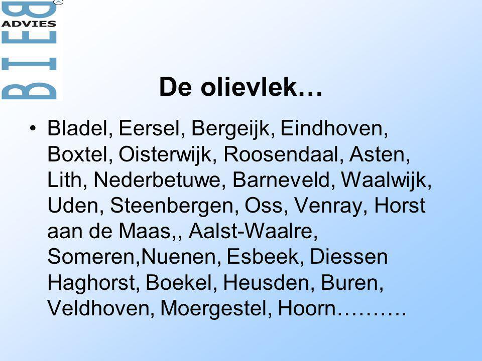 De olievlek… •Bladel, Eersel, Bergeijk, Eindhoven, Boxtel, Oisterwijk, Roosendaal, Asten, Lith, Nederbetuwe, Barneveld, Waalwijk, Uden, Steenbergen, O