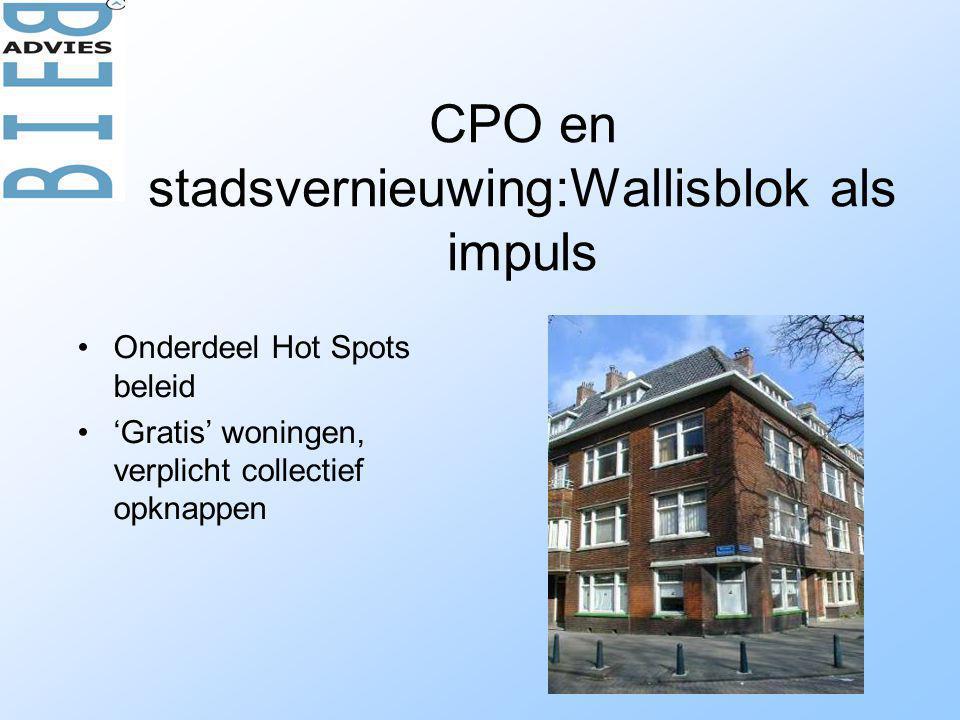 CPO en stadsvernieuwing:Wallisblok als impuls •Onderdeel Hot Spots beleid •'Gratis' woningen, verplicht collectief opknappen