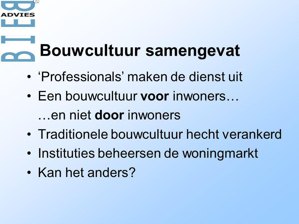 •'Professionals' maken de dienst uit •Een bouwcultuur voor inwoners… …en niet door inwoners •Traditionele bouwcultuur hecht verankerd •Instituties beheersen de woningmarkt •Kan het anders.