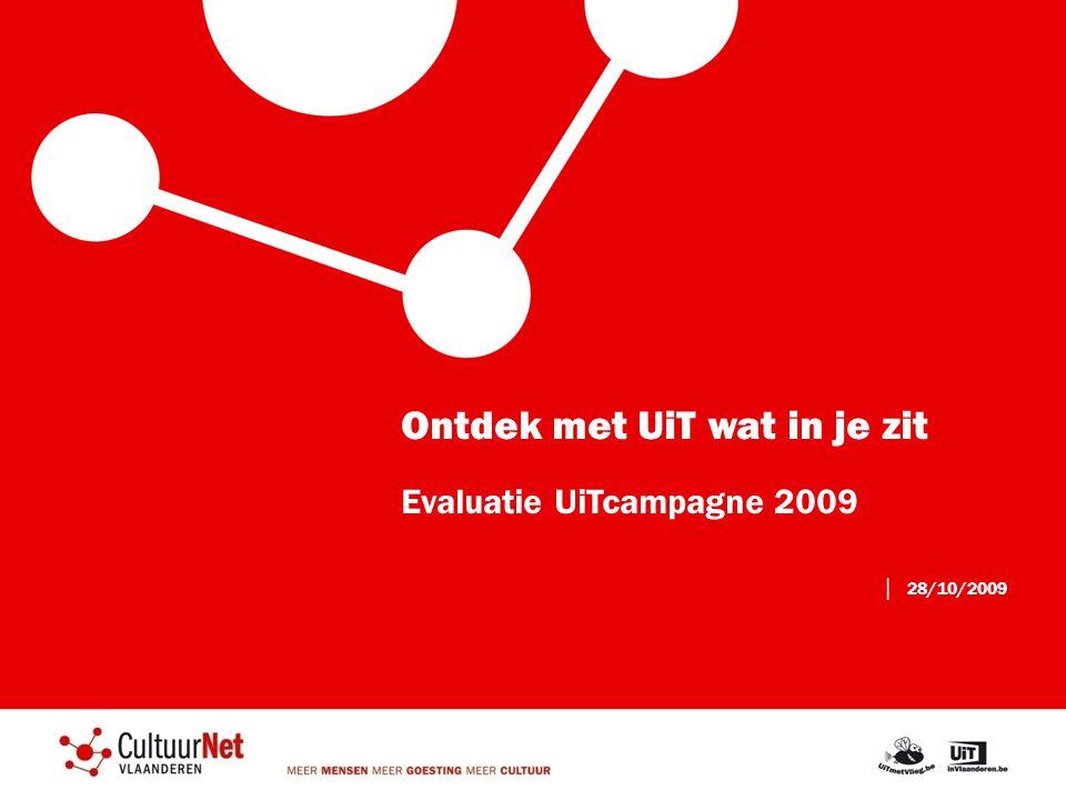 Ontdek met UiT wat in je zit Evaluatie UiTcampagne 2009 │ 28/10/2009