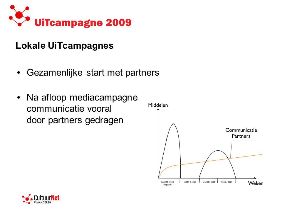 UiTcampagne 2009 Lokale UiTcampagnes • Gezamenlijke start met partners • Na afloop mediacampagne communicatie vooral door partners gedragen