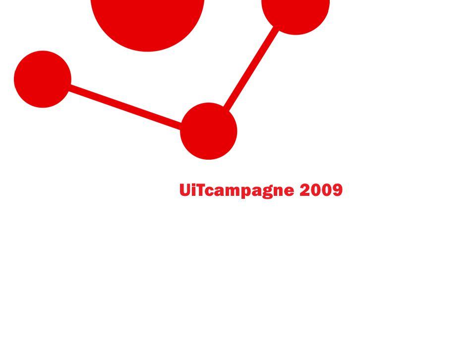 Doelstellingen campagne • Imagovorming • Opbouwen merk UiTinVlaanderen.be • Identiteit versterken van UiTpartners • Versteviging marktpositie • Impact bereiken via de juiste mediamix • Multiplicatoreneffect lokale en nationale campagnes