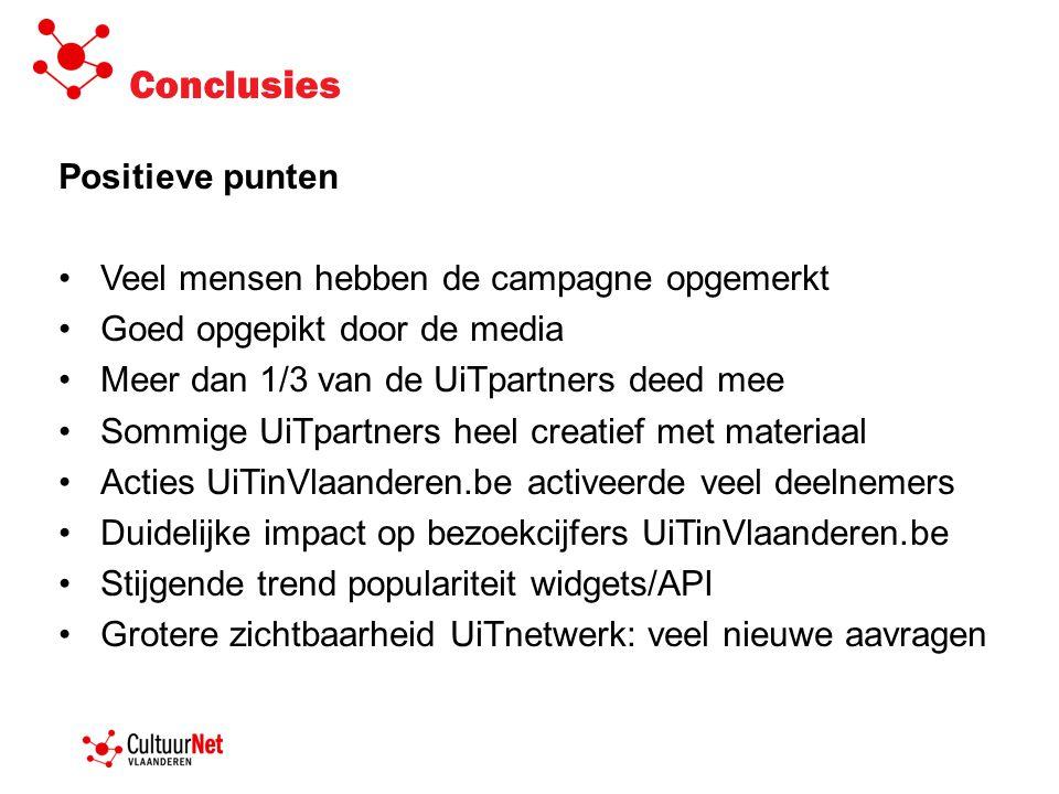 Positieve punten •Veel mensen hebben de campagne opgemerkt •Goed opgepikt door de media •Meer dan 1/3 van de UiTpartners deed mee •Sommige UiTpartners