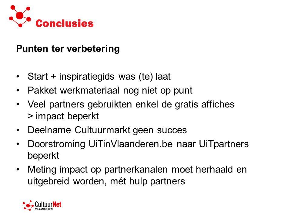 Conclusies Punten ter verbetering •Start + inspiratiegids was (te) laat •Pakket werkmateriaal nog niet op punt •Veel partners gebruikten enkel de grat