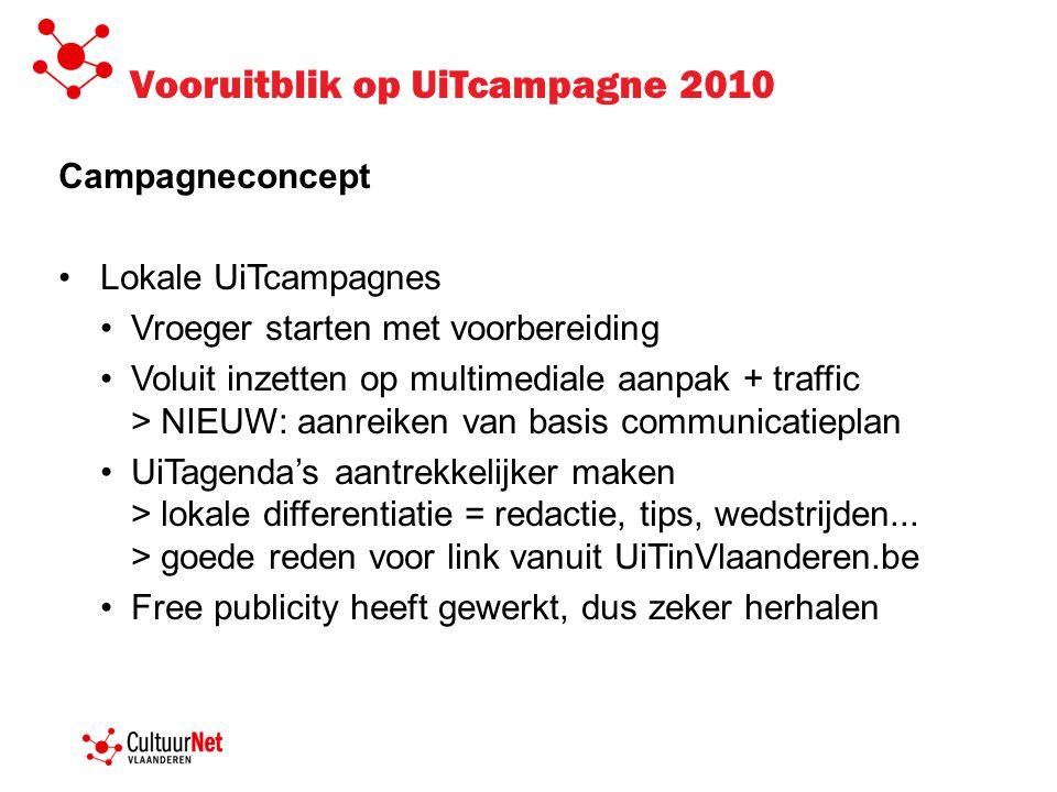 Vooruitblik op UiTcampagne 2010 Campagneconcept •Lokale UiTcampagnes •Vroeger starten met voorbereiding •Voluit inzetten op multimediale aanpak + traf