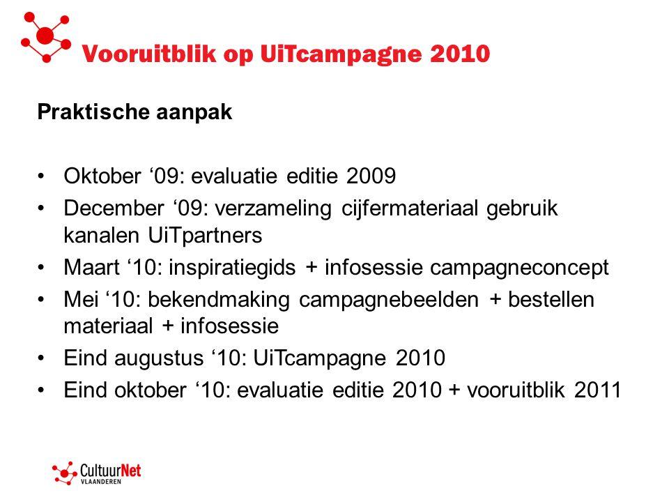 Vooruitblik op UiTcampagne 2010 Praktische aanpak •Oktober '09: evaluatie editie 2009 •December '09: verzameling cijfermateriaal gebruik kanalen UiTpa