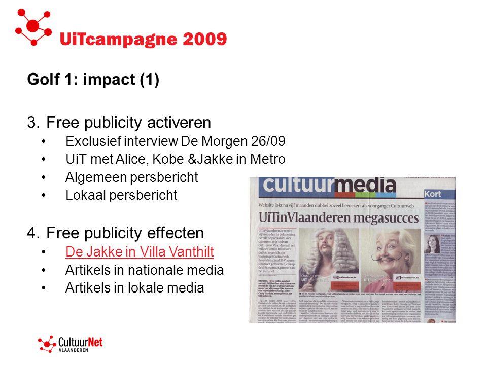 UiTcampagne 2009 Golf 1: impact (1) 3.Free publicity activeren •Exclusief interview De Morgen 26/09 •UiT met Alice, Kobe &Jakke in Metro •Algemeen per