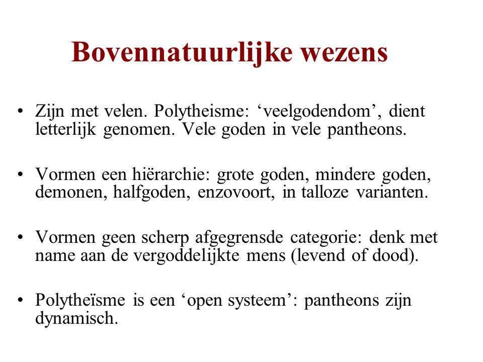 Bovennatuurlijke wezens •Zijn met velen. Polytheisme: 'veelgodendom', dient letterlijk genomen. Vele goden in vele pantheons. •Vormen een hiërarchie: