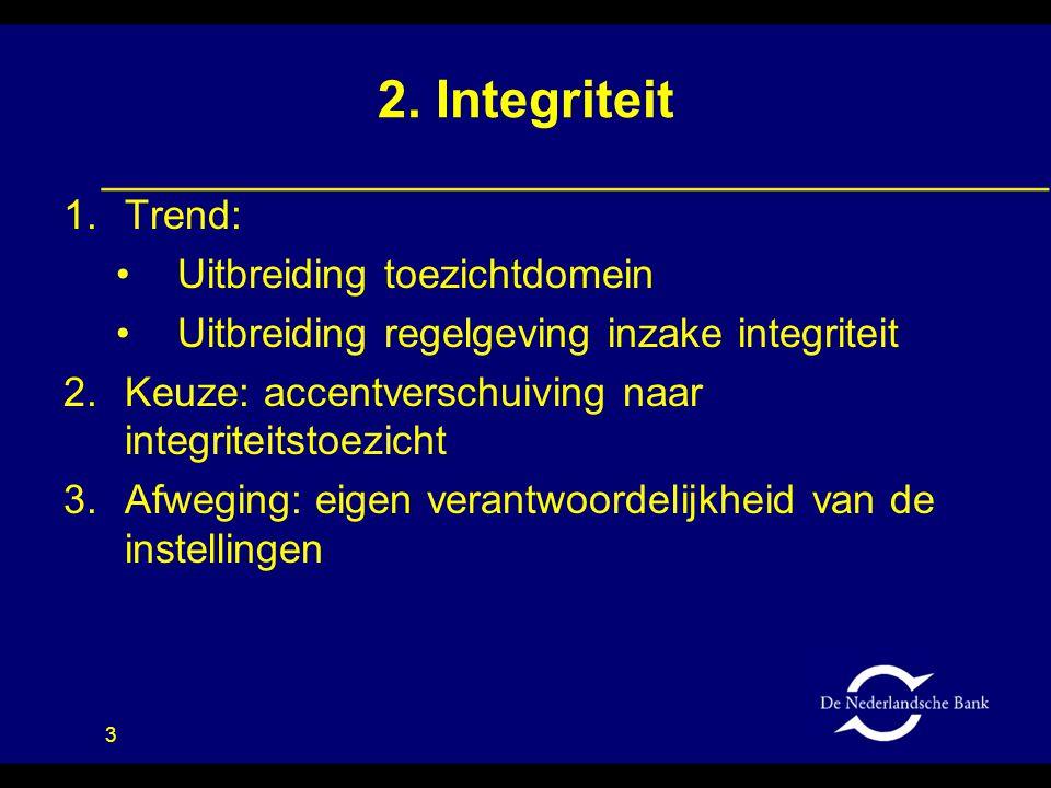3 2. Integriteit 1.Trend: •Uitbreiding toezichtdomein •Uitbreiding regelgeving inzake integriteit 2.Keuze: accentverschuiving naar integriteitstoezich