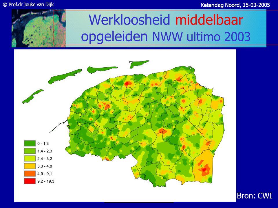 © Prof.dr Jouke van Dijk Ketendag Noord, 15-03-2005 Groei werkloosheid (NWW) dec.03–dec.04 • Werkloosheid groeit 1,2% in het Noorden en dat is langzamer dan landelijk 2% • Grn.