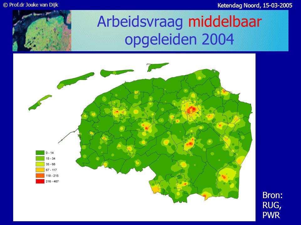 © Prof.dr Jouke van Dijk Ketendag Noord, 15-03-2005 Arbeidsaanbod middelbaar fase 1 NWW en schoolverlaters 2004 Bron: CWI, Geoshare