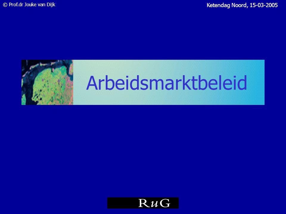 © Prof.dr Jouke van Dijk Ketendag Noord, 15-03-2005 Conclusie Economisch herstel in 2005 Noorden volgt landelijk trend goed: recessie niet dieper dan landelijk Werkloosheid loopt op in 2005, vooral door WAO-herkeuring