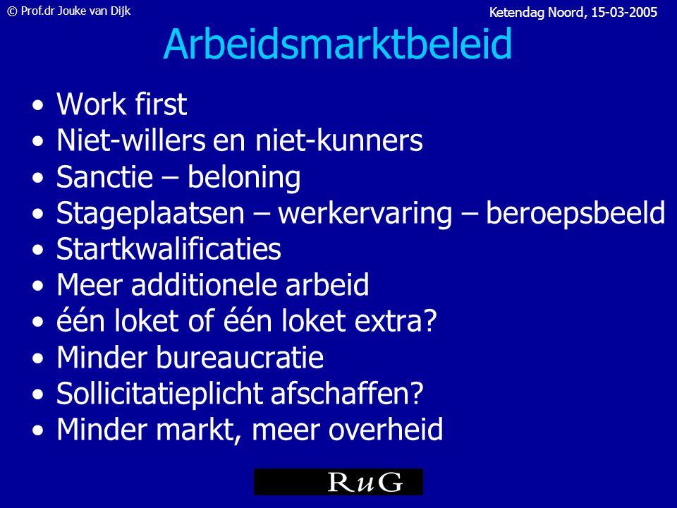 © Prof.dr Jouke van Dijk Ketendag Noord, 15-03-2005 Arbeidsmarktbeleid = keuzes maken 1.Omvang en aard van het probleem (arbeidsmarktinformatie) 2.Gaat het probleem vanzelf over.