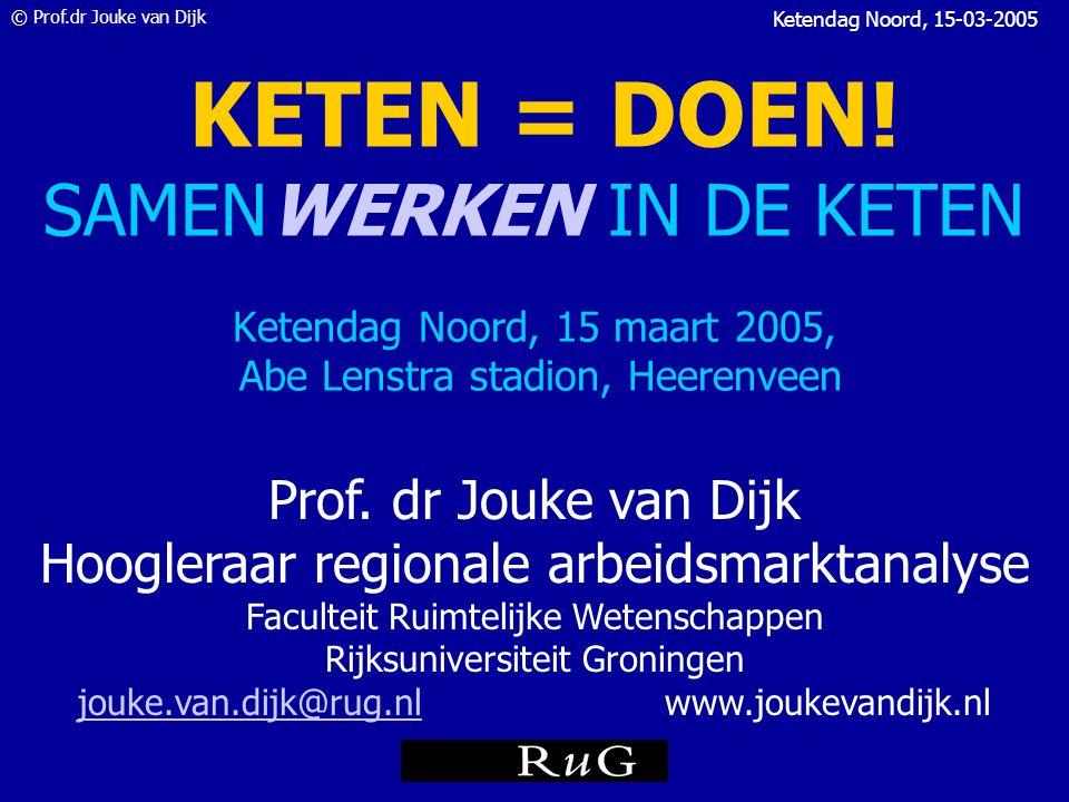 © Prof.dr Jouke van Dijk Ketendag Noord, 15-03-2005 Waar moeten sociale diensten, UWV en CWI in investeren.