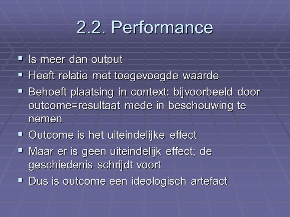 2.2. Performance  Is meer dan output  Heeft relatie met toegevoegde waarde  Behoeft plaatsing in context: bijvoorbeeld door outcome=resultaat mede