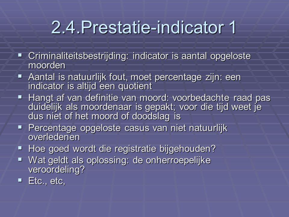 2.4.Prestatie-indicator 1  Criminaliteitsbestrijding: indicator is aantal opgeloste moorden  Aantal is natuurlijk fout, moet percentage zijn: een in