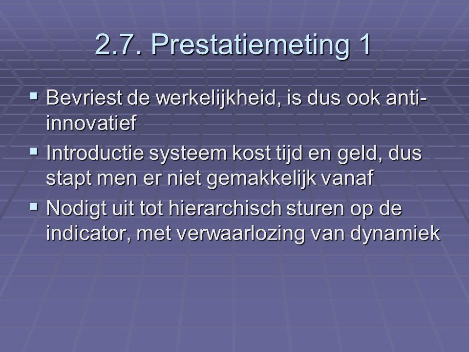 2.7. Prestatiemeting 1  Bevriest de werkelijkheid, is dus ook anti- innovatief  Introductie systeem kost tijd en geld, dus stapt men er niet gemakke