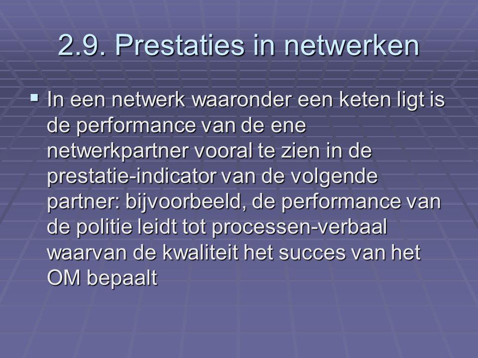 2.9. Prestaties in netwerken  In een netwerk waaronder een keten ligt is de performance van de ene netwerkpartner vooral te zien in de prestatie-indi