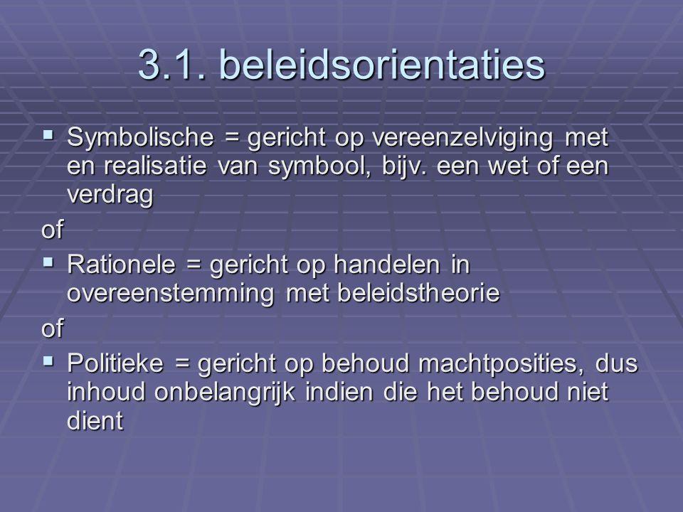 3.1. beleidsorientaties  Symbolische = gericht op vereenzelviging met en realisatie van symbool, bijv. een wet of een verdrag of  Rationele = gerich