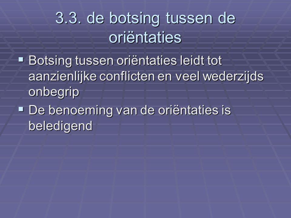 3.3. de botsing tussen de oriëntaties  Botsing tussen oriëntaties leidt tot aanzienlijke conflicten en veel wederzijds onbegrip  De benoeming van de