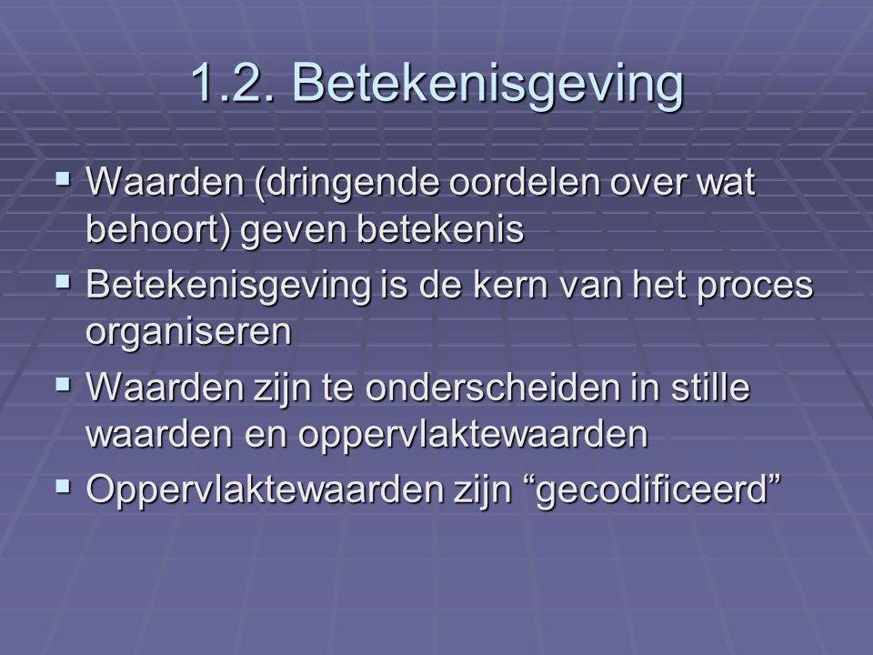 1.2. Betekenisgeving  Waarden (dringende oordelen over wat behoort) geven betekenis  Betekenisgeving is de kern van het proces organiseren  Waarden