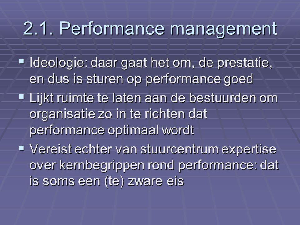 2.1. Performance management  Ideologie: daar gaat het om, de prestatie, en dus is sturen op performance goed  Lijkt ruimte te laten aan de bestuurde