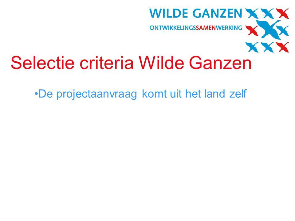 Selectie criteria Wilde Ganzen •De projectaanvraag komt uit het land zelf