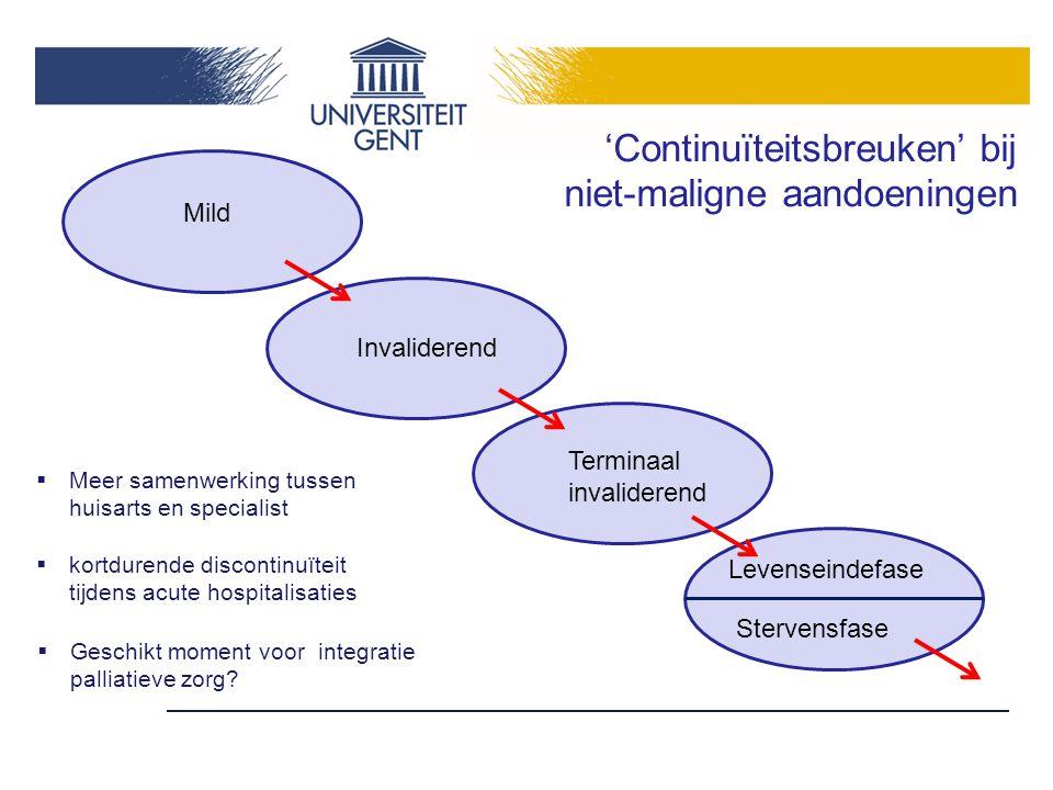 'Continuïteitsbreuken' bij niet-maligne aandoeningen  Meer samenwerking tussen huisarts en specialist  kortdurende discontinuïteit tijdens acute hos
