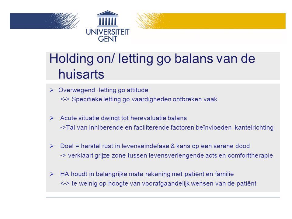 Holding on/ letting go balans van de huisarts  Overwegend letting go attitude Specifieke letting go vaardigheden ontbreken vaak  Acute situatie dwin