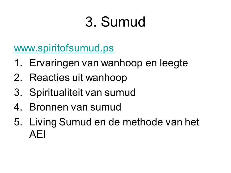 3. Sumud www.spiritofsumud.ps 1.Ervaringen van wanhoop en leegte 2.Reacties uit wanhoop 3.Spiritualiteit van sumud 4.Bronnen van sumud 5.Living Sumud