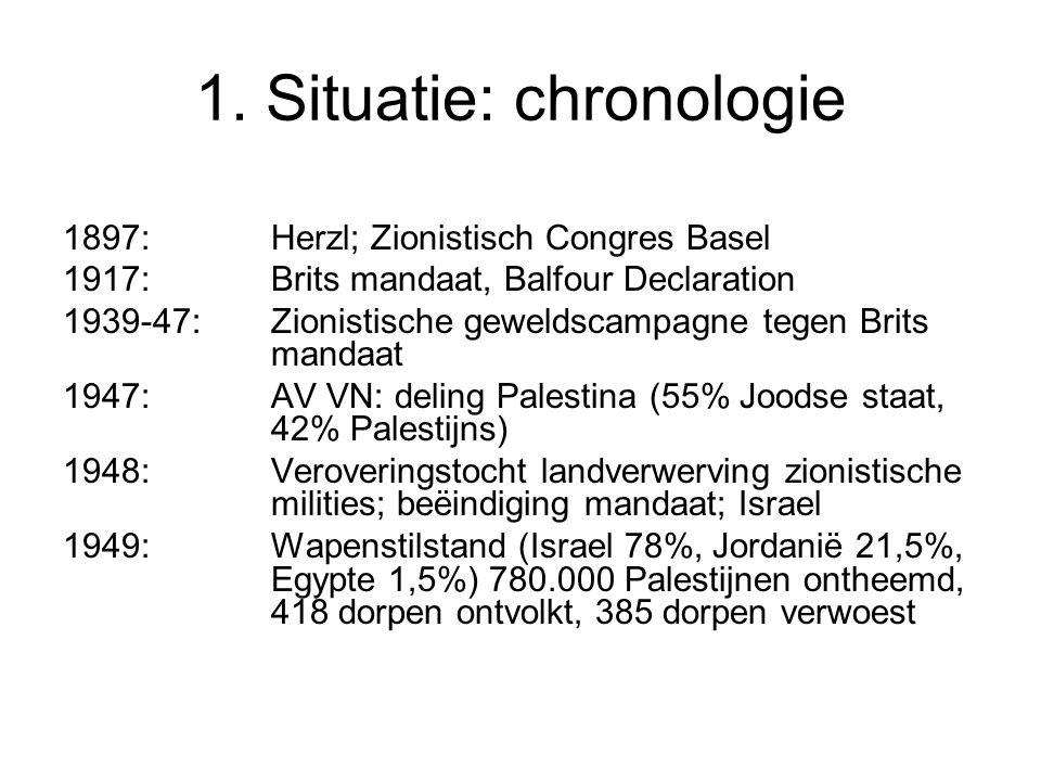 1. Situatie: chronologie 1897: Herzl; Zionistisch Congres Basel 1917: Brits mandaat, Balfour Declaration 1939-47: Zionistische geweldscampagne tegen B