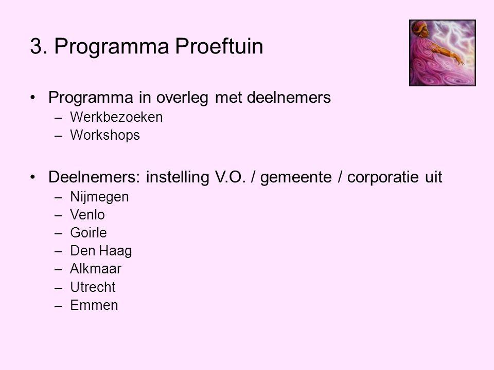 3. Programma Proeftuin •Programma in overleg met deelnemers –Werkbezoeken –Workshops •Deelnemers: instelling V.O. / gemeente / corporatie uit –Nijmege