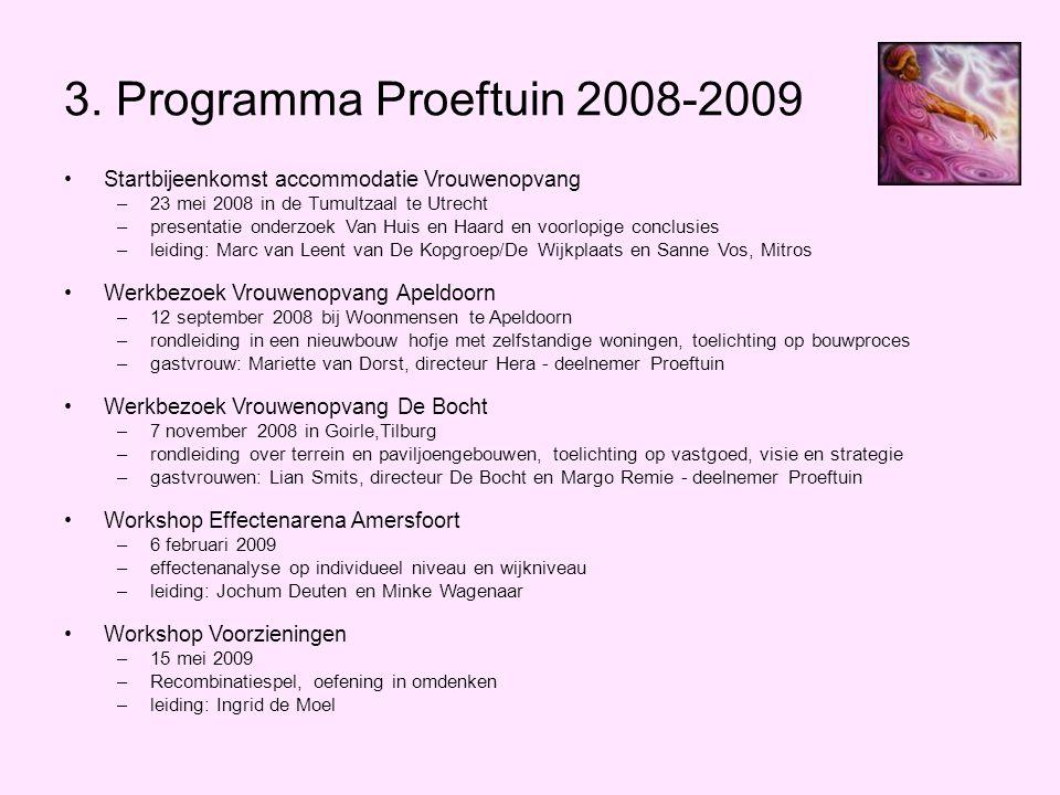 3. Programma Proeftuin 2008-2009 •Startbijeenkomst accommodatie Vrouwenopvang –23 mei 2008 in de Tumultzaal te Utrecht –presentatie onderzoek Van Huis
