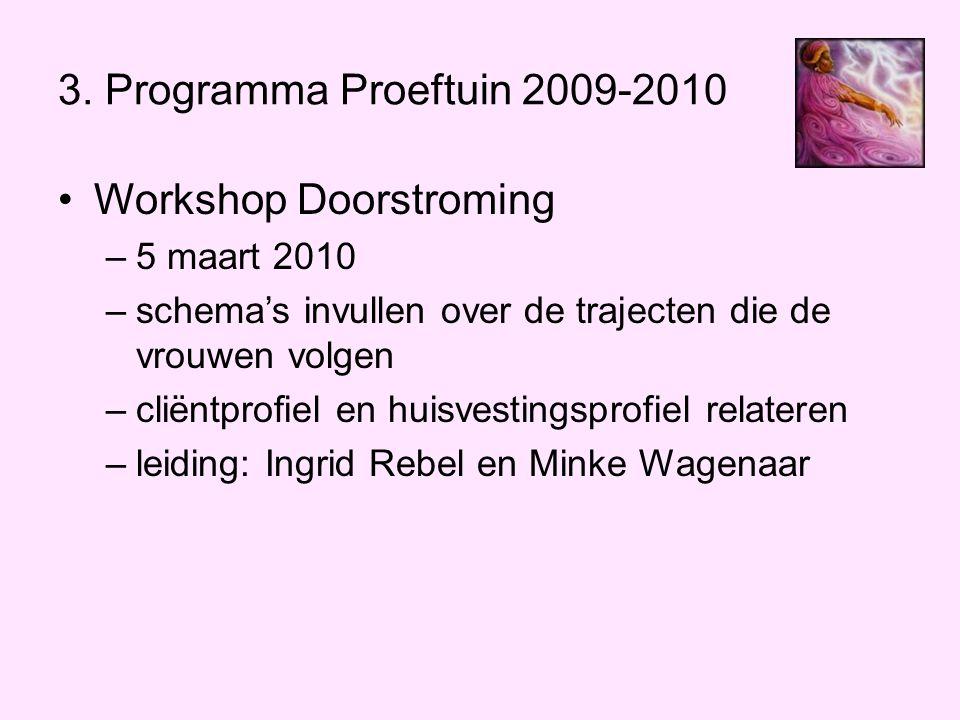 3. Programma Proeftuin 2009-2010 •Workshop Doorstroming –5 maart 2010 –schema's invullen over de trajecten die de vrouwen volgen –cliëntprofiel en hui