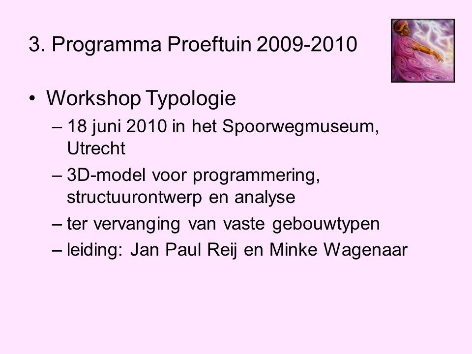 3. Programma Proeftuin 2009-2010 •Workshop Typologie –18 juni 2010 in het Spoorwegmuseum, Utrecht –3D-model voor programmering, structuurontwerp en an