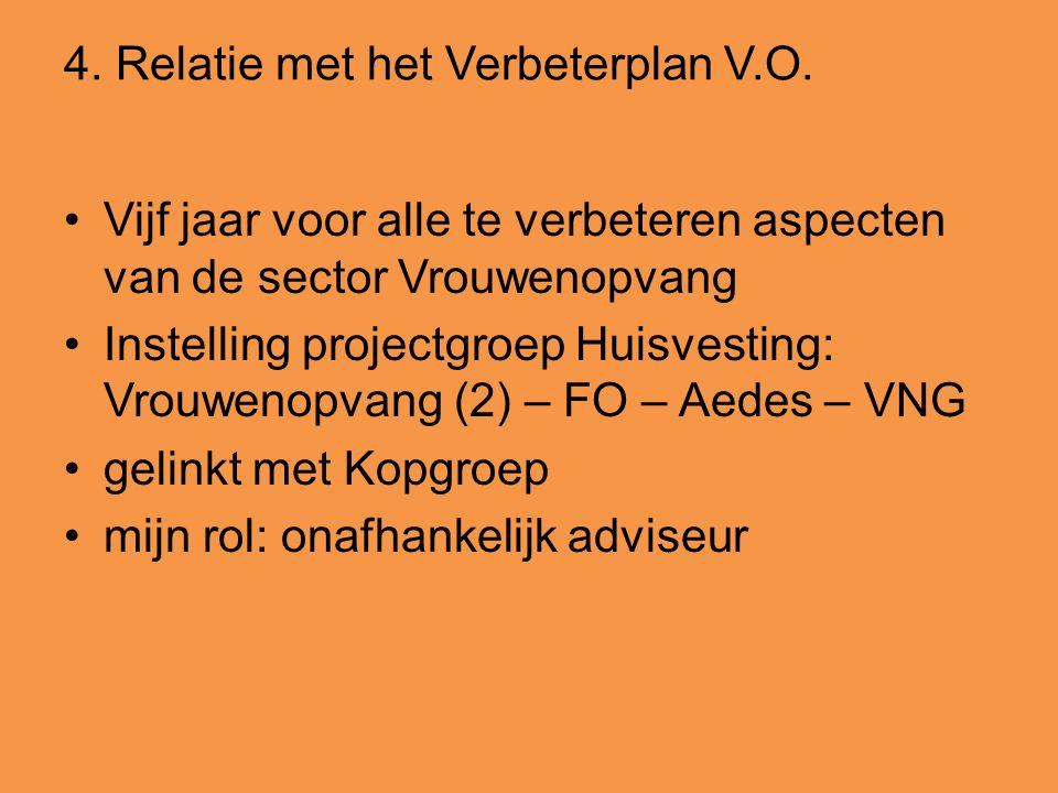 4. Relatie met het Verbeterplan V.O. •Vijf jaar voor alle te verbeteren aspecten van de sector Vrouwenopvang •Instelling projectgroep Huisvesting: Vro