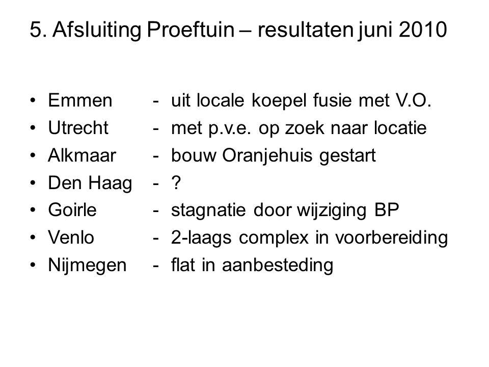 5. Afsluiting Proeftuin – resultaten juni 2010 •Emmen •Utrecht •Alkmaar •Den Haag •Goirle •Venlo •Nijmegen -uit locale koepel fusie met V.O. -met p.v.