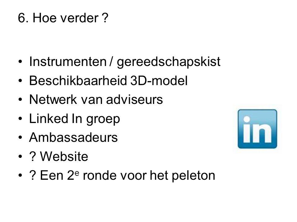 6. Hoe verder ? •Instrumenten / gereedschapskist •Beschikbaarheid 3D-model •Netwerk van adviseurs •Linked In groep •Ambassadeurs •? Website •? Een 2 e