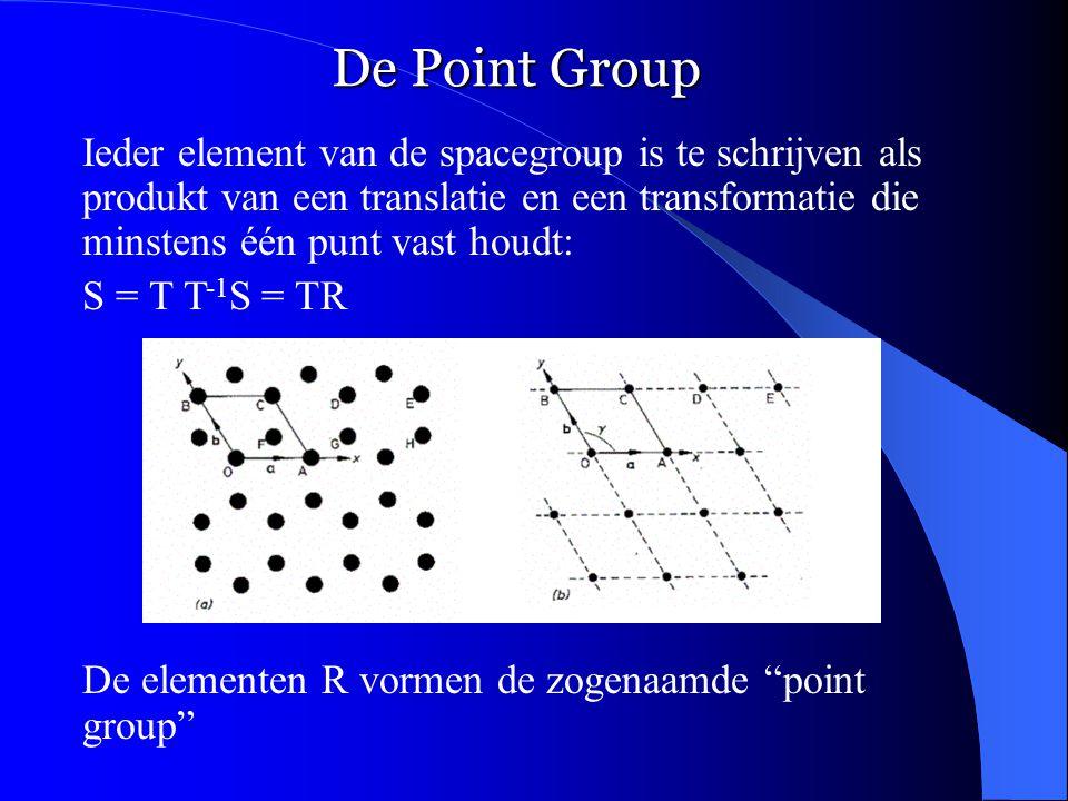 De Point Group Ieder element van de spacegroup is te schrijven als produkt van een translatie en een transformatie die minstens één punt vast houdt: S = T T -1 S = TR De elementen R vormen de zogenaamde point group