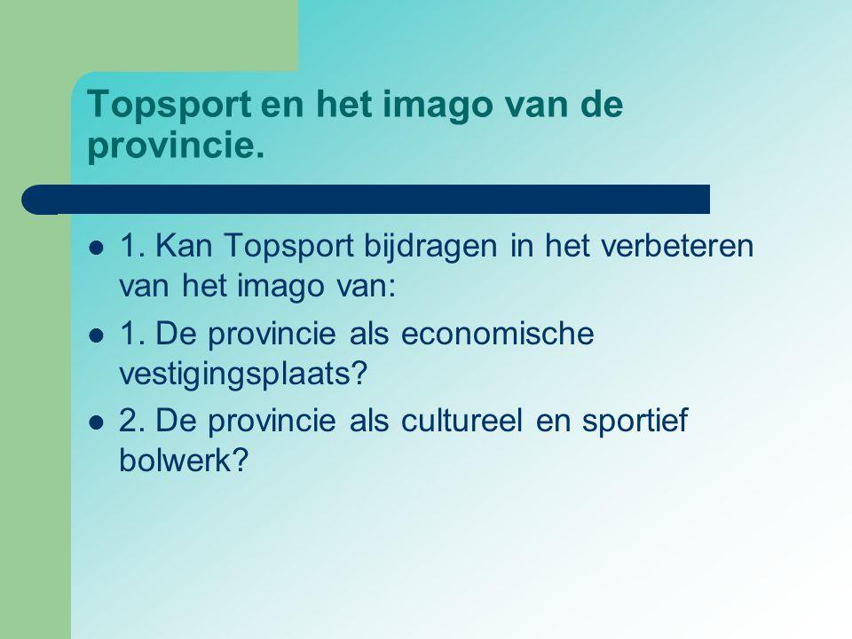 Topsport en het imago van de provincie.  1. Kan Topsport bijdragen in het verbeteren van het imago van:  1. De provincie als economische vestigingsp