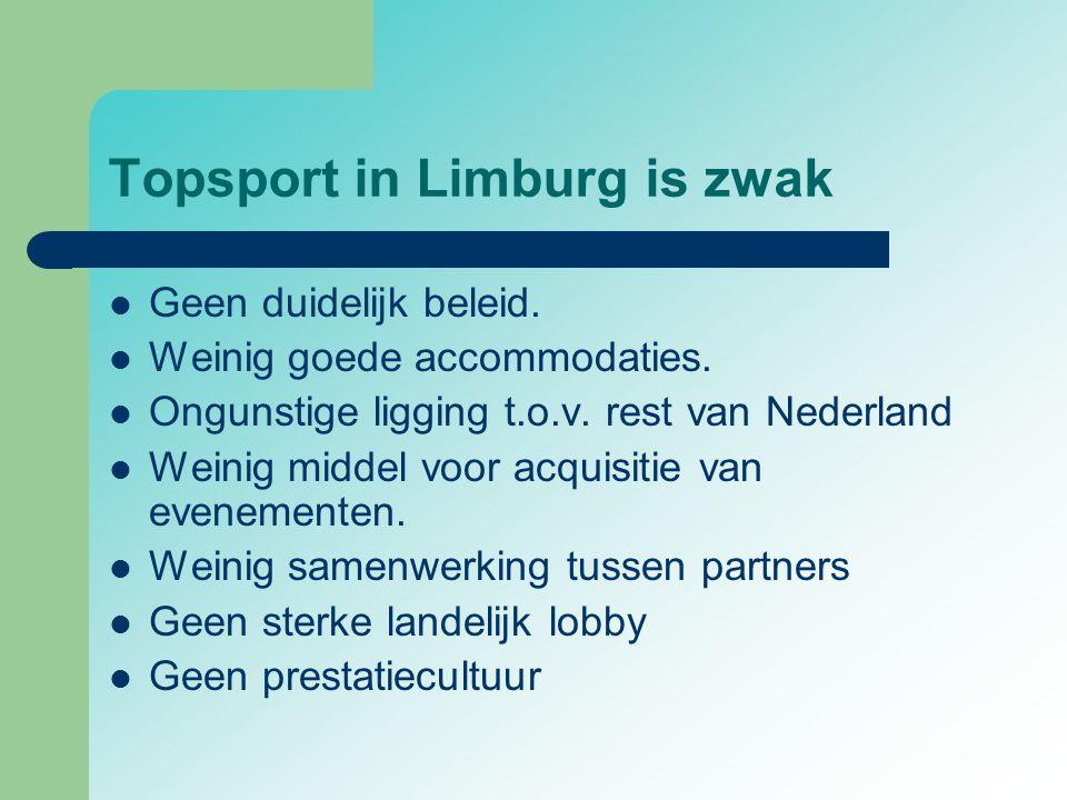 Topsport in Limburg is zwak  Geen duidelijk beleid.  Weinig goede accommodaties.  Ongunstige ligging t.o.v. rest van Nederland  Weinig middel voor